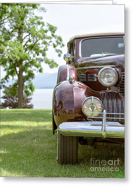 Caddy Photographs Greeting Cards - Vintage Caddy at Lake George Greeting Card by Edward Fielding