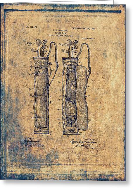 Caddy Greeting Cards - Vintage Caddy Bag Patent - 1905 Greeting Card by Maria Angelica Maira