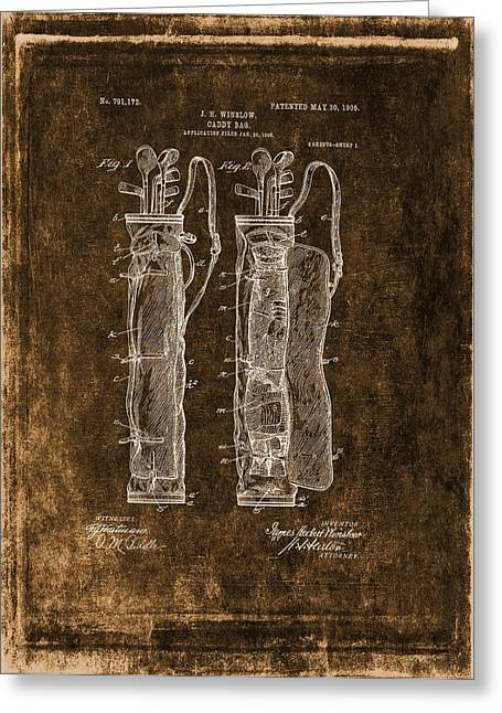 Caddy Greeting Cards - Vintage Caddy Bag Patent Drawing  - 1905 Greeting Card by Maria Angelica Maira