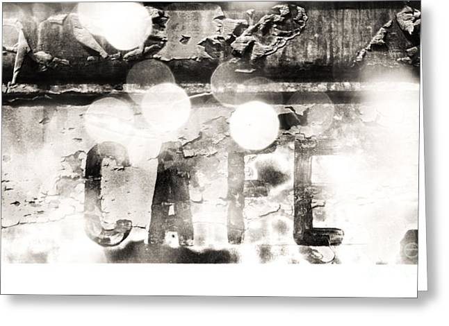 Paris In Lights Greeting Cards - Vintage CAFE Sign in Lights BW Greeting Card by ArtyZen Studios