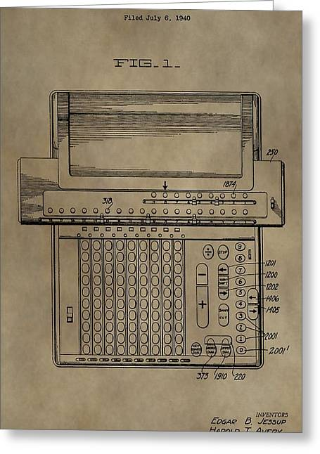 Multiplication Greeting Cards - Vintage Calculating Machine Patent Greeting Card by Dan Sproul