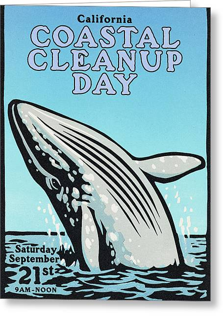 Droplet Paintings Greeting Cards - Vintage California Coastal Cleanup Day Whale Poster Greeting Card by California Coastal Commission