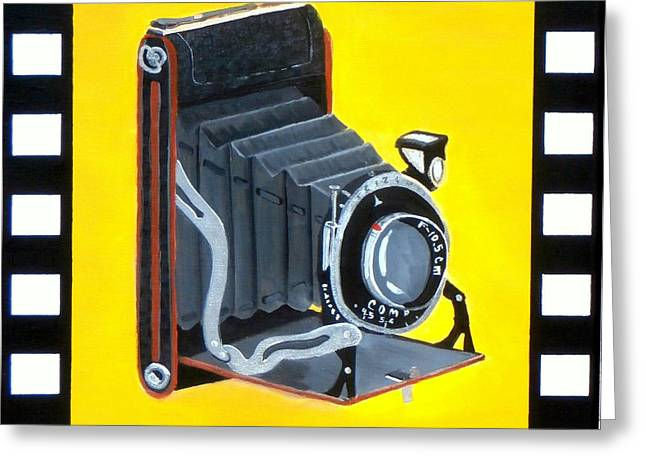 Camera Paintings Greeting Cards - Vintage Camera Greeting Card by Karyn Robinson