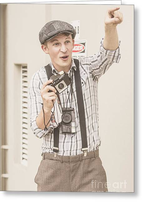 Enthusiastic Greeting Cards - Vintage camera man with a point of view Greeting Card by Ryan Jorgensen