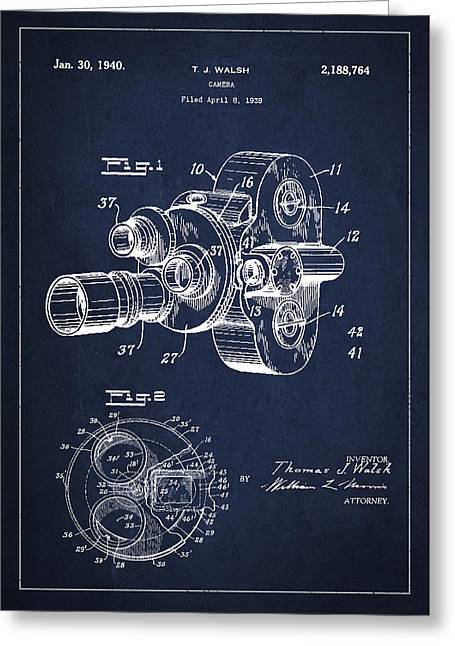 Camera Greeting Cards - Vintage Camera Patent Drawing from 1938 Greeting Card by Aged Pixel