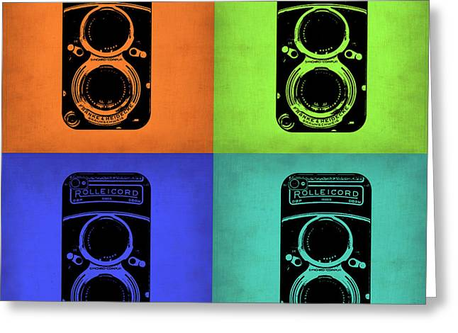Camera Greeting Cards - Vintage Camera Pop Art 1 Greeting Card by Naxart Studio