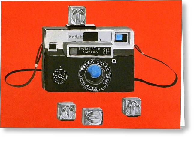 Camera Paintings Greeting Cards - Vintage Camera with Flash Cube Greeting Card by Karyn Robinson