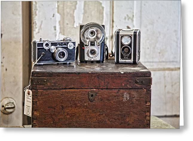 Still Life Photographs Greeting Cards - Vintage Cameras at Warehouse 54 Greeting Card by Toni Hopper
