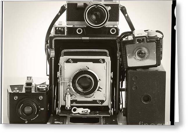Press Box Greeting Cards - Vintage Cameras Greeting Card by Edward Fielding