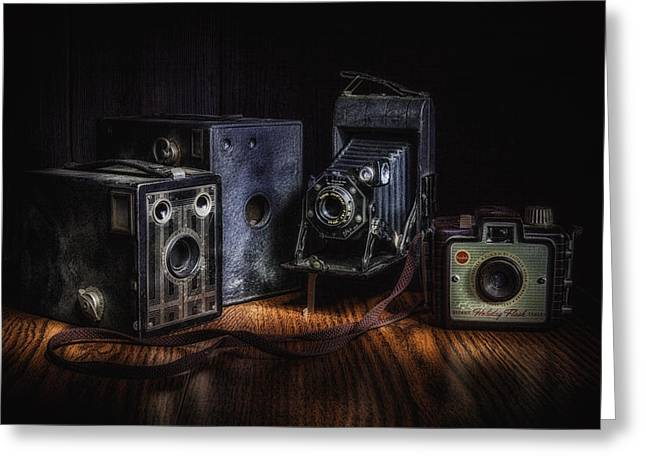 Old Objects Greeting Cards - Vintage Cameras Still Life Greeting Card by Tom Mc Nemar