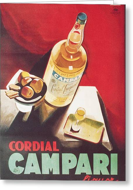Italian Wine Digital Greeting Cards - Vintage Campari Greeting Card by Nomad Art And  Design