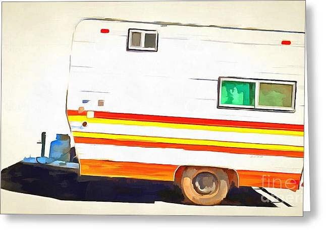 Pop Can Greeting Cards - Vintage Camping Trailer Pop Greeting Card by Edward Fielding