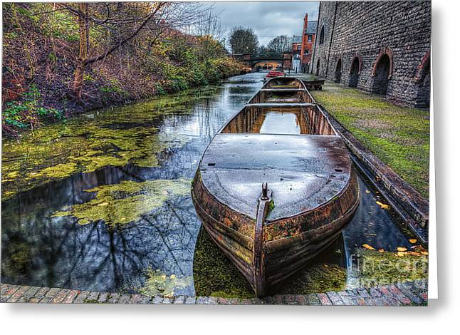 Moss Greeting Cards - Vintage Canal Boat Greeting Card by Adrian Evans