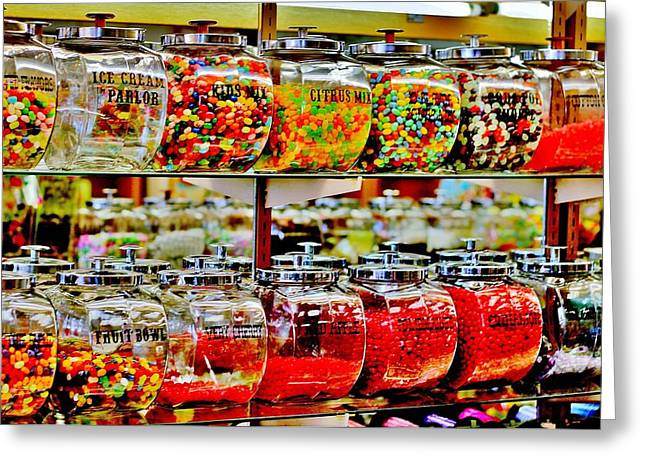 Dime Store Greeting Cards - Vintage Candy Jars Greeting Card by Benjamin Yeager
