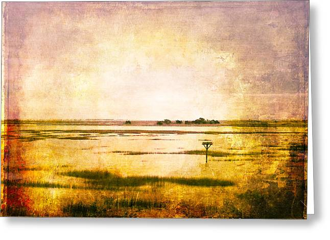Tidal Photographs Greeting Cards - VINTAGE WARM SUNRISE SUNSET IMAGE ART by Jo Ann Tomaselli Greeting Card by Jo Ann Tomaselli