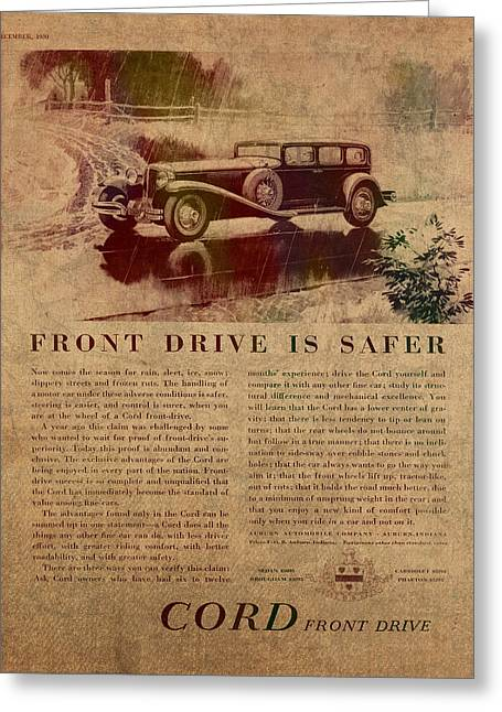 Posters On Mixed Media Greeting Cards - Vintage Car Advertisement 1930 Cord Front Drive Ad Poster on Worn Faded Paper Greeting Card by Design Turnpike