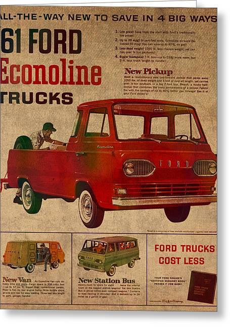Posters On Mixed Media Greeting Cards - Vintage Car Advertisement 1961 Ford Econoline Truck Ad Poster on Worn Faded Paper Greeting Card by Design Turnpike