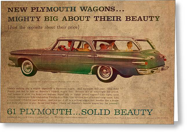 Wagon Mixed Media Greeting Cards - Vintage Car Advertisement 1961 Plymouth Wagon Ad Poster on Worn Faded Paper Greeting Card by Design Turnpike