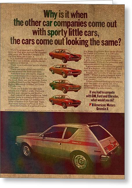Posters On Mixed Media Greeting Cards - Vintage Car Advertisement American Motors Gremlin Ad Poster on Worn Faded Paper Greeting Card by Design Turnpike