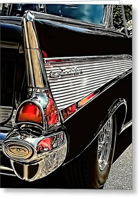 Chevy Greeting Cards - Vintage Car Art 1957 Chevy Bel Air Fin Greeting Card by Lesa Fine