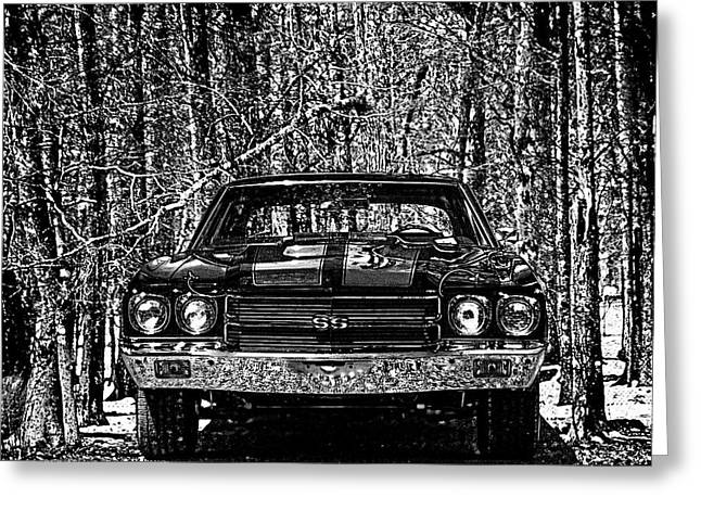 Automobile Greeting Cards - Vintage Car Art Chevelle SS Woodcut Greeting Card by Lesa Fine