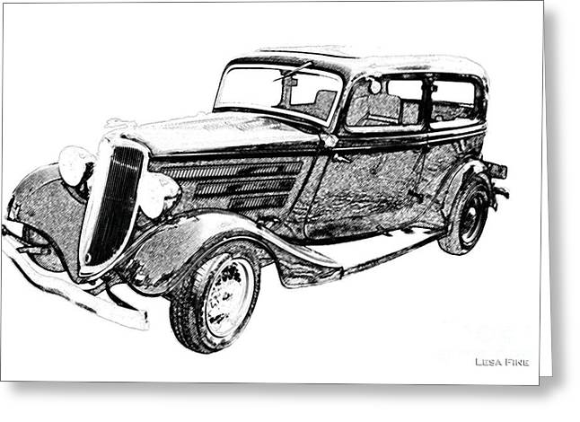 Classic Ford Greeting Cards - Vintage Car Art Ford-BW PENCIL SKETCH Greeting Card by Lesa Fine
