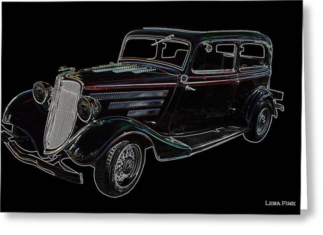 Classic Ford Greeting Cards - Vintage Car Art Ford NEON OUTLINE Greeting Card by Lesa Fine