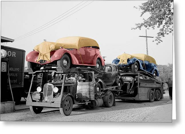 Car Carrier Greeting Cards - Vintage Car Carrier Greeting Card by Andrew Fare