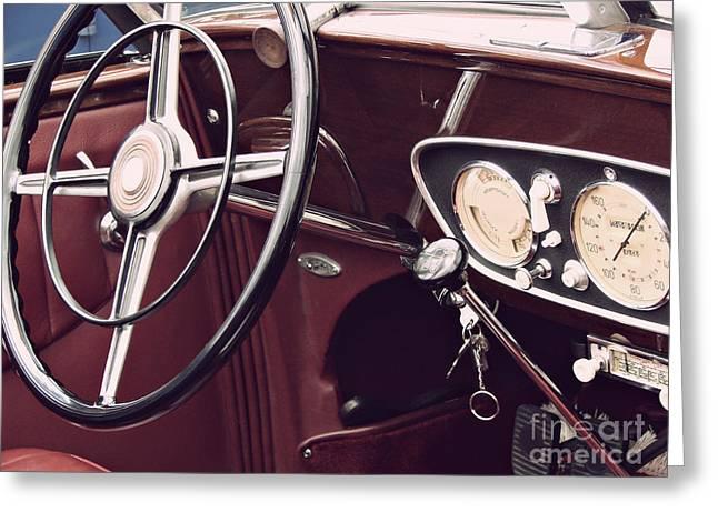 Steering Greeting Cards - Vintage Car Greeting Card by Dan Radi