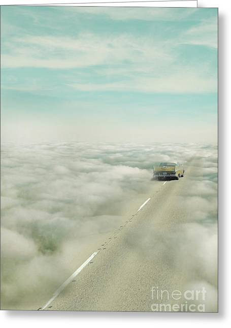 Final Destination Greeting Cards - Vintage Car Driving into Clouds Greeting Card by Jill Battaglia