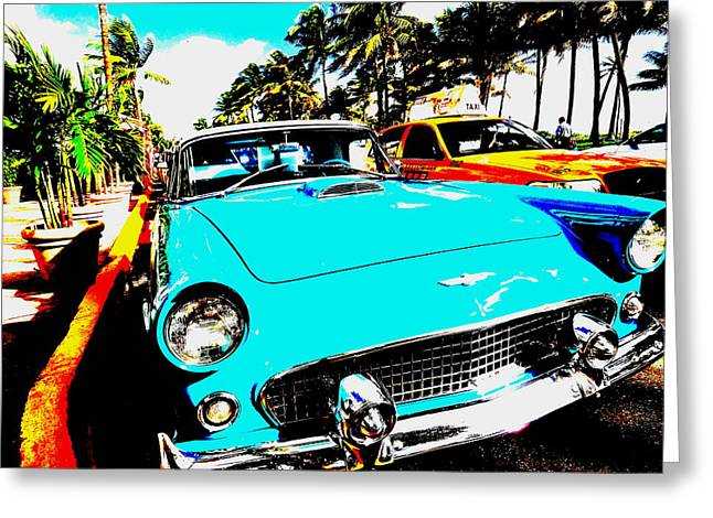 York Beach Greeting Cards - Vintage Car in South Beach Miami  Greeting Card by Funkpix Photo Hunter
