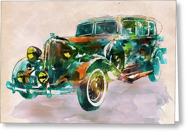 Fine Mixed Media Greeting Cards - Vintage Car in watercolor Greeting Card by Marian Voicu