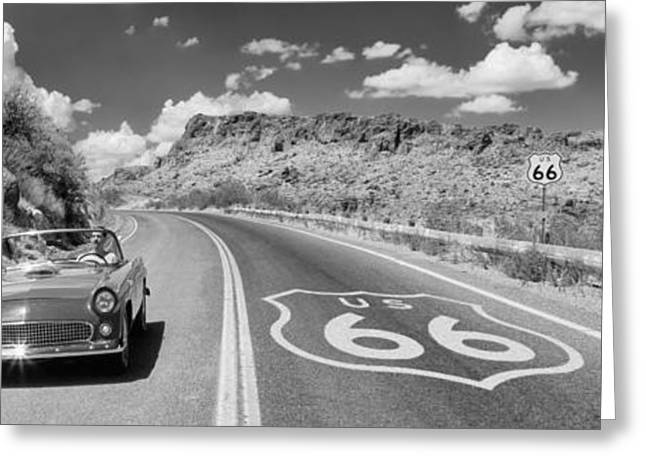 Yellow Line Photographs Greeting Cards - Vintage Car Moving On The Road, Route Greeting Card by Panoramic Images