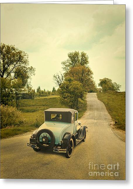 Old Country Roads Greeting Cards - Vintage Car on a Rural Road Greeting Card by Jill Battaglia