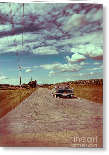 Fence Pole Greeting Cards - Vintage Car on Country Road Greeting Card by Jill Battaglia