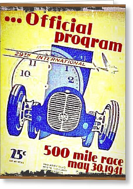 Vintage Tin Car Racing Poster Greeting Card by Larry Lamb