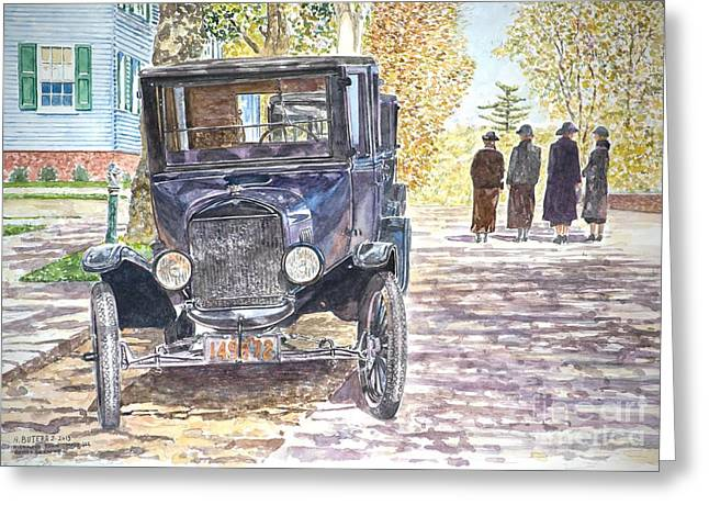Cobblestone Street Greeting Cards - Vintage Car Richmondtown Greeting Card by Anthony Butera