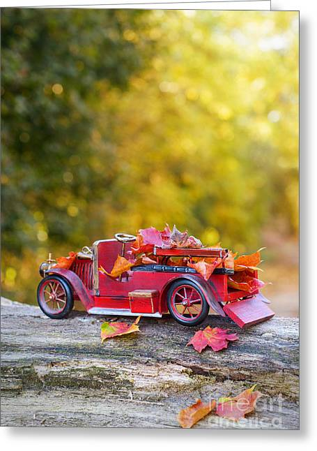 Fall Colours Greeting Cards - Vintage Car With Autumn Leaves Greeting Card by Amanda And Christopher Elwell