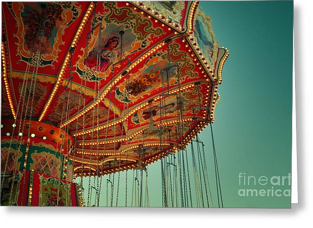 Muenchen Greeting Cards - Vintage Carousel at the Octoberfest in Munich Greeting Card by Sabine Jacobs