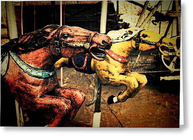 Horse Racing Prints Greeting Cards - Vintage Carousel Horses 002 Greeting Card by Tony Grider