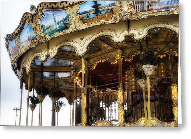 Whirligig Greeting Cards - Vintage Carousel in Paris Greeting Card by Nomad Art And  Design
