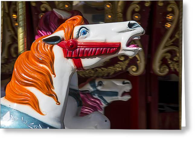 Amusements Greeting Cards - Vintage carrousel horse Greeting Card by Garry Gay