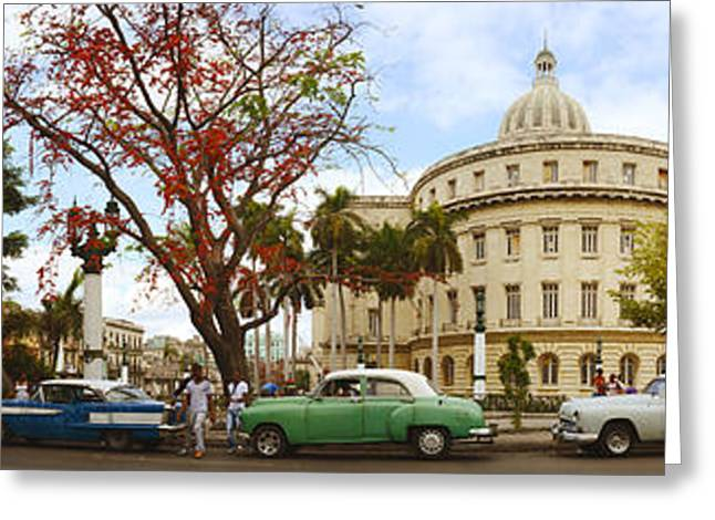 Old Street Greeting Cards - Vintage Cars Parked On A Street Greeting Card by Panoramic Images