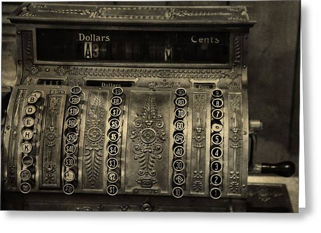 Receipt Greeting Cards - Vintage Cash Register Greeting Card by Dan Sproul