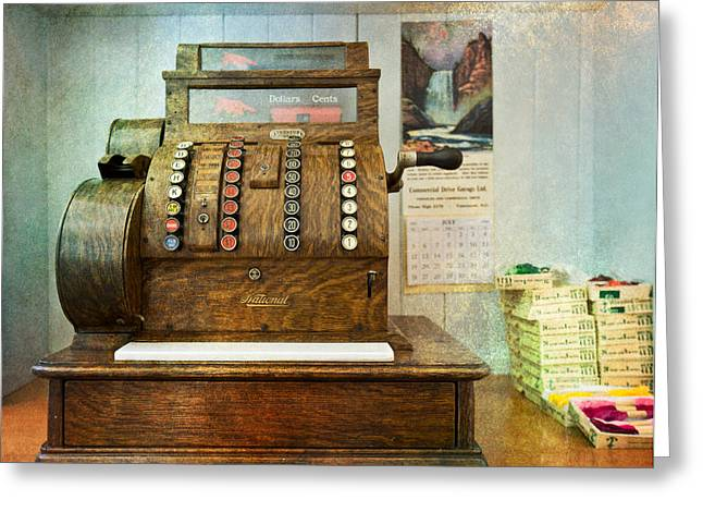Valuable Objects Greeting Cards - Vintage cash register Greeting Card by Eti Reid