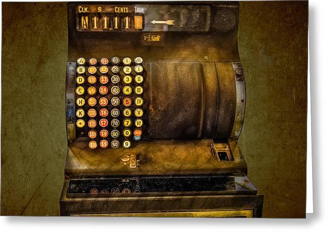 Old Cash Register Keys Greeting Cards - Vintage Cash Register Greeting Card by Paul Freidlund