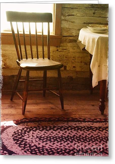 Mealtime Greeting Cards - Vintage Chair and Table Greeting Card by Jill Battaglia