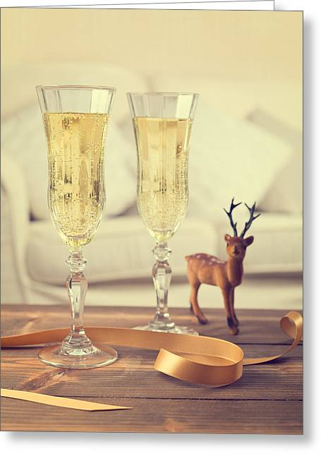 Vintage Champagne Greeting Card by Amanda Elwell