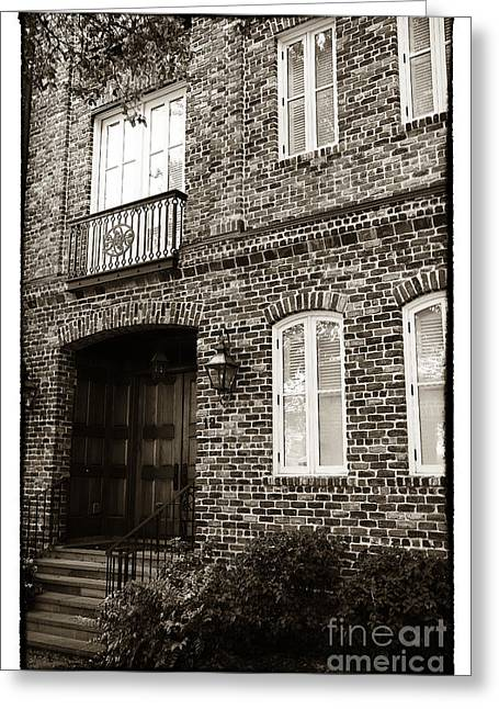 Old School House Greeting Cards - Vintage Charleston House Greeting Card by John Rizzuto