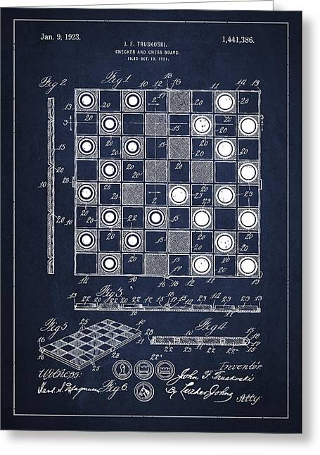 Chess Greeting Cards - Vintage Checker and Chess Board Drawing from 1921 Greeting Card by Aged Pixel